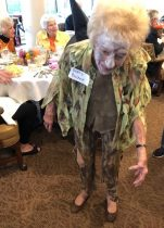 senior dressed as zombie