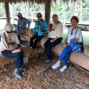 Senior living community residents under tiki hut
