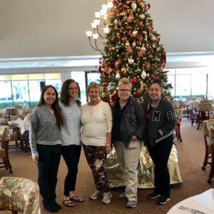 Senior living dining room christmas tree