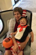woman with boy in cat in the hat costume
