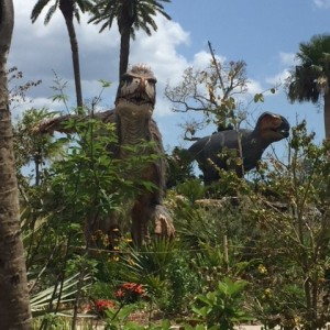 Dinosaur statue at botanical gardens