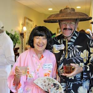 Senior couple dressed as Geisha people