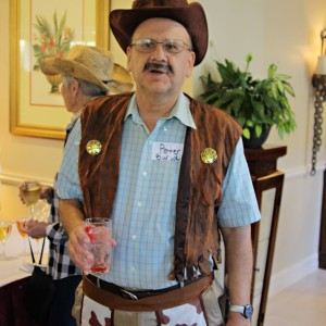 Man dressed up as cowboy for halloween