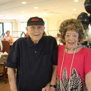 Senior living couple dressed up for halloween party
