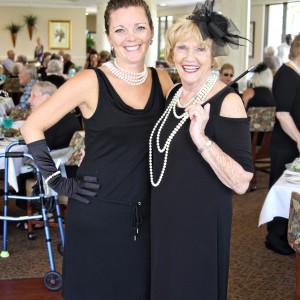 Two women dress like audry hepburn