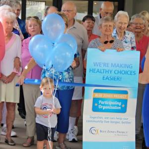 Toddler boy holding blue balloons