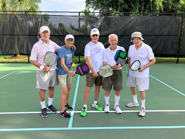 Seniors playing Pickleball at Arbor Trace