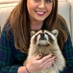 woman holds blind raccoon