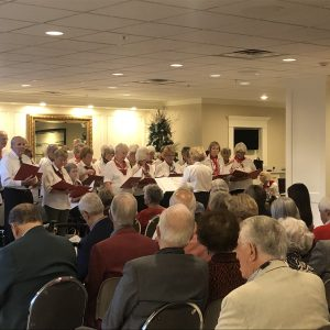 Senior living residents watch Christmas performance