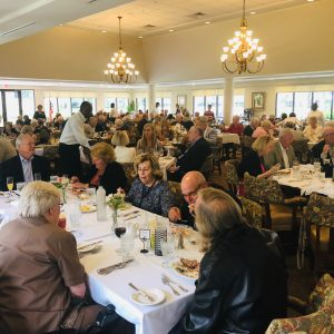senior living residents dining in Colonnade Room