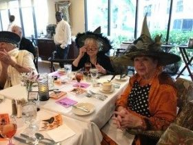 arbor glen residents at halloween party