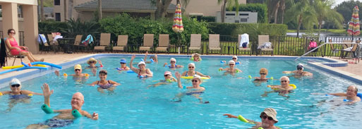 Senior citizens in pool