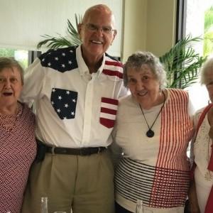 Patriotic seniors at brunch